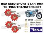 BSA SS80 Sport Star 1961 to 1966 Transfer Decal Set